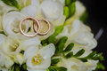 Two wedding rings in infinity sign. Love concept Royalty Free Stock Photo