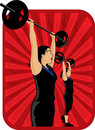 Two weight lifting women Stock Photos