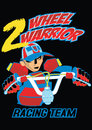 Two wheel warrior vector illustration of a bicycle and rider Royalty Free Stock Images