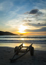 Two wheeled cart on the beach during sunset Stock Photography