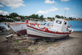 Two white boats on zakynthos island greece Stock Photography