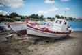 Two white boats on zakynthos island greece Stock Photography