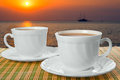 Two white cups with saucer Stock Photos