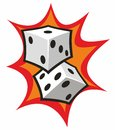 Two White Dice over Orange Cartoon Flash Royalty Free Stock Photo