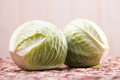 Two white headed cabbage Royalty Free Stock Photo