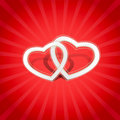 Two white ornamented hearts on red Stock Photo