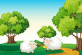 Two white sheeps at the hilltop illustration of Royalty Free Stock Photography