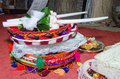 Two white wedding candles Suite and baskets of candy in the Oriental style at the festival hina Royalty Free Stock Photo