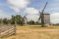 Two windmills photo of at windmill farm on the sunny day Stock Photography