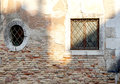 Two windows in square and oval shape Royalty Free Stock Photo