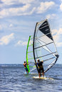 Two windsurfers in action back view of mooving parallel to eath other Stock Photography