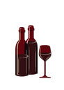 Two wine bottles and glass Royalty Free Stock Photo