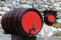 Two wine casks in traditional restaurant in bulgaria Stock Images