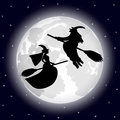 Two witches on a background of the full moon on halloween night illustration Stock Image