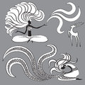 Two witches and goat vector illustration Stock Image