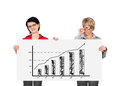 Two woman holding billboard women with growth chart Stock Photos