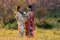 Two Woman in kimono traditional japanese dress Royalty Free Stock Photo