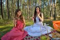 Two woman relax on picnic women relaxing in outdoor in forest Stock Photos
