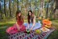 Two woman relax on picnic women relaxing in outdoor in forest Royalty Free Stock Photo