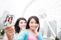 Two woman selfie in hongkong Royalty Free Stock Photo