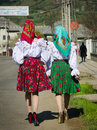Two woman in traditional Romanian dresses in Maramures, Romania