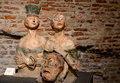 Two womans and head of man sculpture in museum there are morden terracotta italy Stock Image