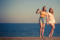 Two women best friends having fun outdoor Royalty Free Stock Photo