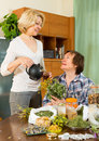 Two women brewing herbal tea smiling elderly with medicinal herbs Stock Images