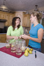 Two women canning smiling Royalty Free Stock Photos