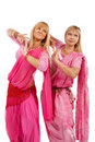Two women dancing belly dance Stock Image
