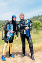 Two women divers ready for a dive Royalty Free Stock Photography