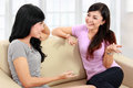 Two women friends chatting Royalty Free Stock Photo