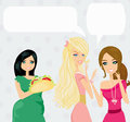 Two women gossip about their fat friend illustration Royalty Free Stock Images