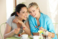 Two women having snack in cafe smiling Royalty Free Stock Photo