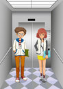Two women inside the elevator illustration of Royalty Free Stock Image