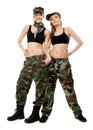 Two women in military clothes army girls full length isolated on white background Royalty Free Stock Photos