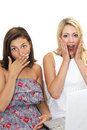 Two women reacting in shocked awe Stock Photography