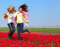 Two women in a red tulip field beautiful young jumping outdoors Stock Photo