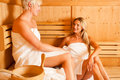 Two women in sauna Stock Photos