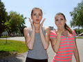 Two women show great surprise Royalty Free Stock Photo