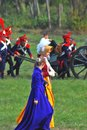 Two women and soldiers reenactors moscow region september dressed as napoleonic war walk at borodino historical Royalty Free Stock Image