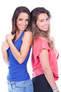 Two women standing and smiling Royalty Free Stock Images