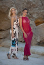 Two women in summer dresses Royalty Free Stock Photo