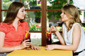 Two women talking in the cafe girls at a table girls drink cherry juice sitting by window Royalty Free Stock Photos
