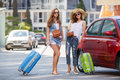 Two women traveling by car Royalty Free Stock Photo