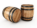 Two wooden barrels Royalty Free Stock Photo