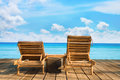 Two wooden beach chair Stock Photo