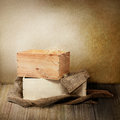 Two wooden boxes wit burlap closeup shot of Stock Photos