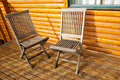 Two wooden chair on the veranda Stock Photography