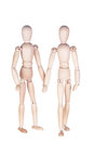 Two wooden dummies on a white background Stock Photos